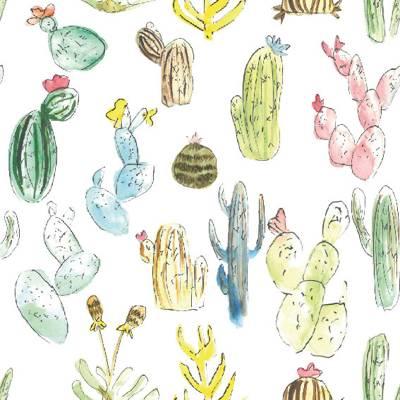 Loneta de Poliester Reciclado PET de 260 gr/m2 - Diseño de cactus sobre fondo blanco