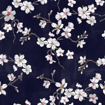 Loneta de Poliester Reciclado PET de 260 gr/m2 - Estampado inspiracion japonesa Flor del Cerezo