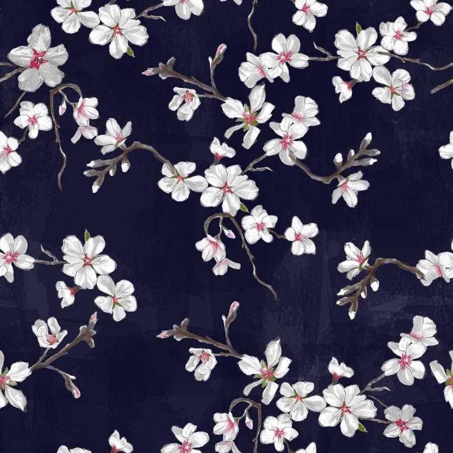 RECYCLED - Lycra de Poliester Reciclado de 190 gr/m2 - Estampado inspiracion japonesa Flor del Cerezo