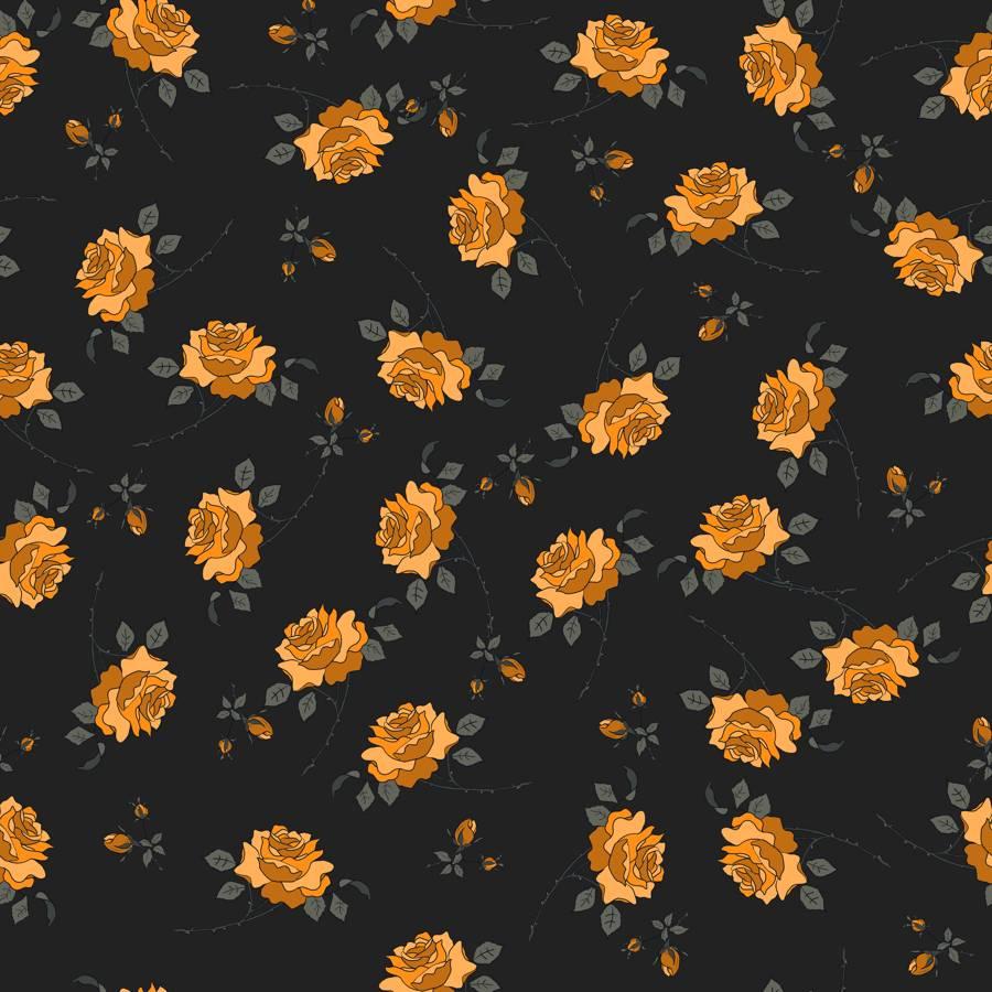 Loneta de Poliester Reciclado PET de 260 gr/m2 - Estampado rosal amarillo