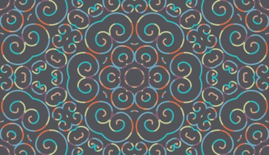 SEAL - Lycra de Poliester Reciclado de 230 gr/m2 - Print etnico Simetría floral