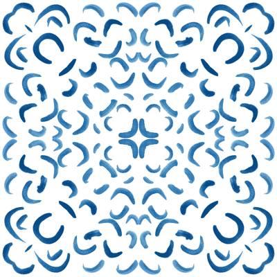 Loneta de Poliester Reciclado PET de 260 gr/m2 - Print etnico Mosaico azul