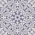 Lycra de Poliester Reciclado de 190 gr/m2 - RECYCLED - Mandala con flores azules en fondo blanco