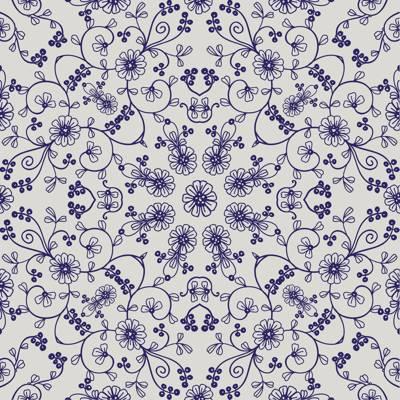 Loneta de Poliester Reciclado PET de 260 gr/m2 - Mandala con flores azules en fondo blanco