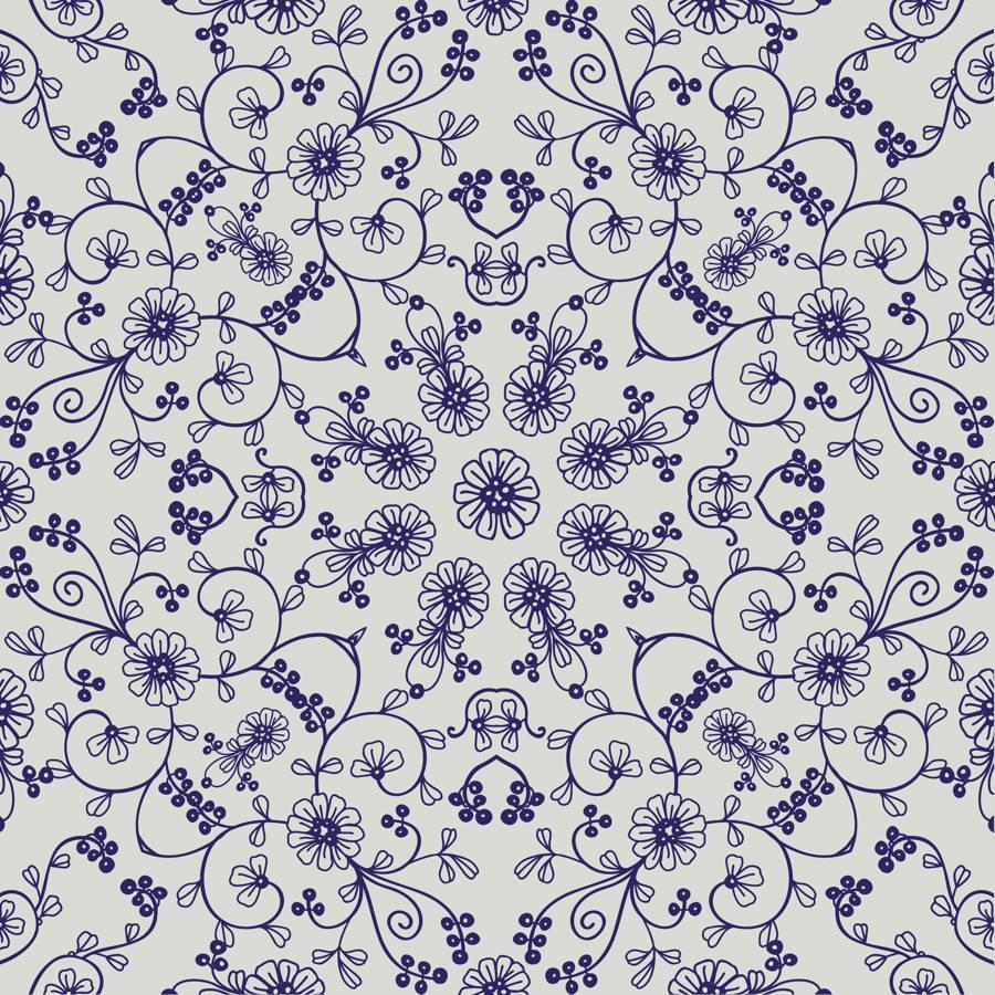 Poliester Reciclado PET de 260 gr/m2 - Mandala con flores azules en fondo blanco