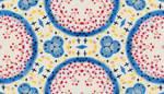 Lycra de Poliester Reciclado de 190 gr/m2 - RECYCLED - Diseño floral abstracto con grandes circulos en tonos calidos