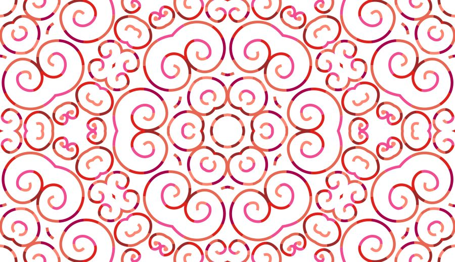 RECYCLED - Lycra de Poliester Reciclado de 190 gr/m2 - Print etnico Mosaico floral rojo