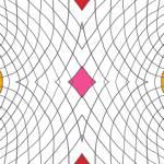 Loneta de Poliester Reciclado PET de 260 gr/m2 - Geometria de lineas con rombo central rosa