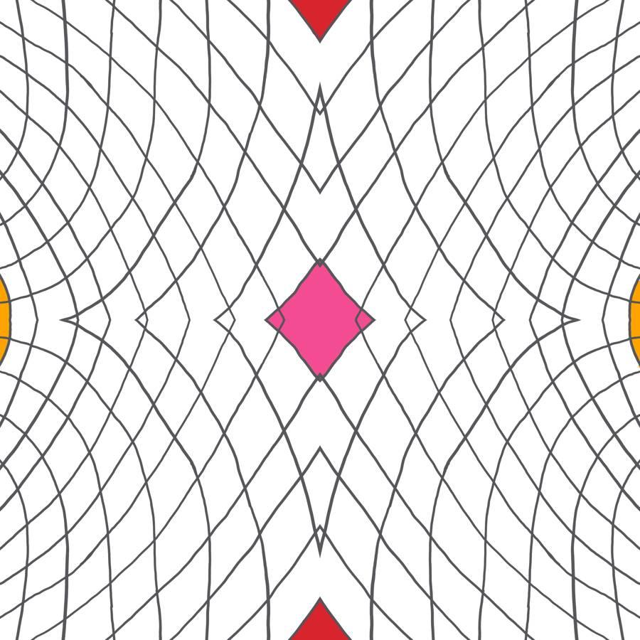 Lycra de Poliester Reciclado de 230 gr/m2 - SEAL - Geometria de lineas con rombo central rosa