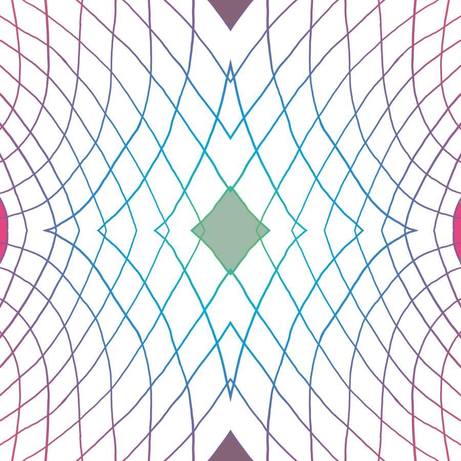 SEAL - Lycra de Poliester Reciclado de 230 gr/m2 - Geometria de lineas con rombo central verde