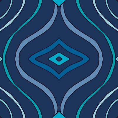 Loneta de Poliester Reciclado PET de 260 gr/m2 - Estampado de lineas ondulantes sobre fondo azul
