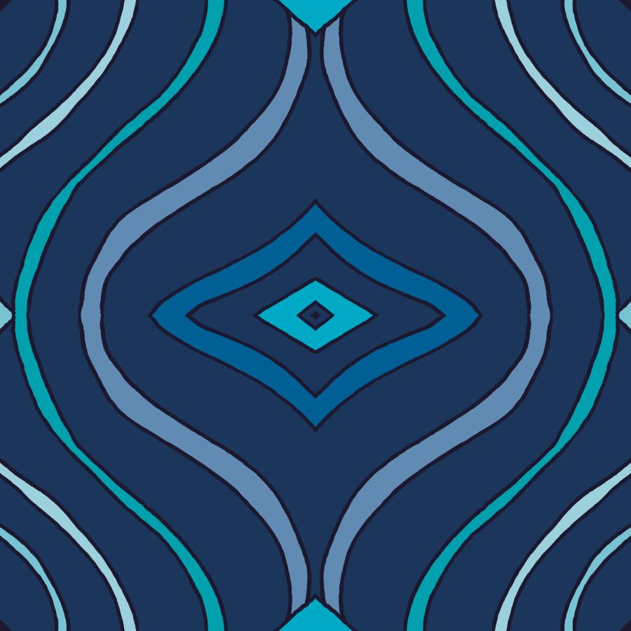 Lycra de Poliester Reciclado de 190 gr/m2 - RECYCLED - Estampado de lineas ondulantes sobre fondo azul