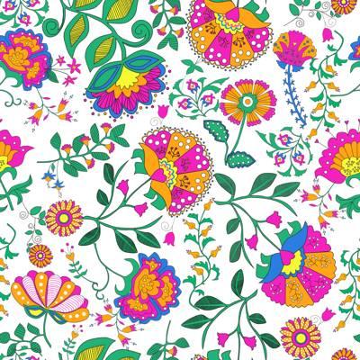 Loneta de Poliester Reciclado PET de 260 gr/m2 - Flores Vintage en colores brillantes