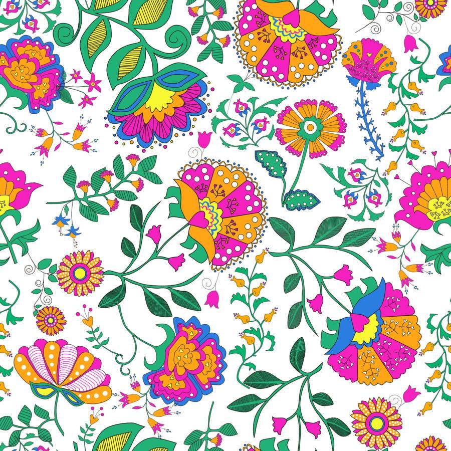 Lycra de Poliester Reciclado de 190 gr/m2 - RECYCLED - Flores Vintage en colores brillantes