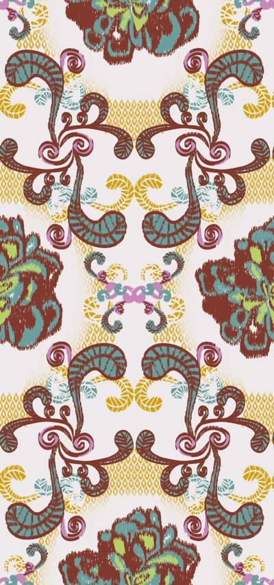 Loneta de Poliester Reciclado PET de 260 gr/m2 - Decorado floral etnico