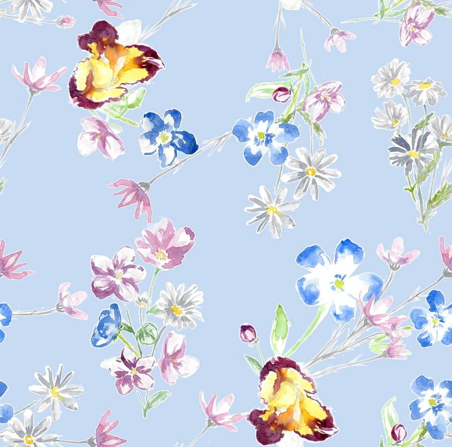 Poliester Reciclado PET de 260 gr/m2 - Print de ramos y flores sobre fondo azul pastel