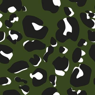 Loneta de Poliester Reciclado PET de 260 gr/m2 - Print de leopardo sobre fondo verde