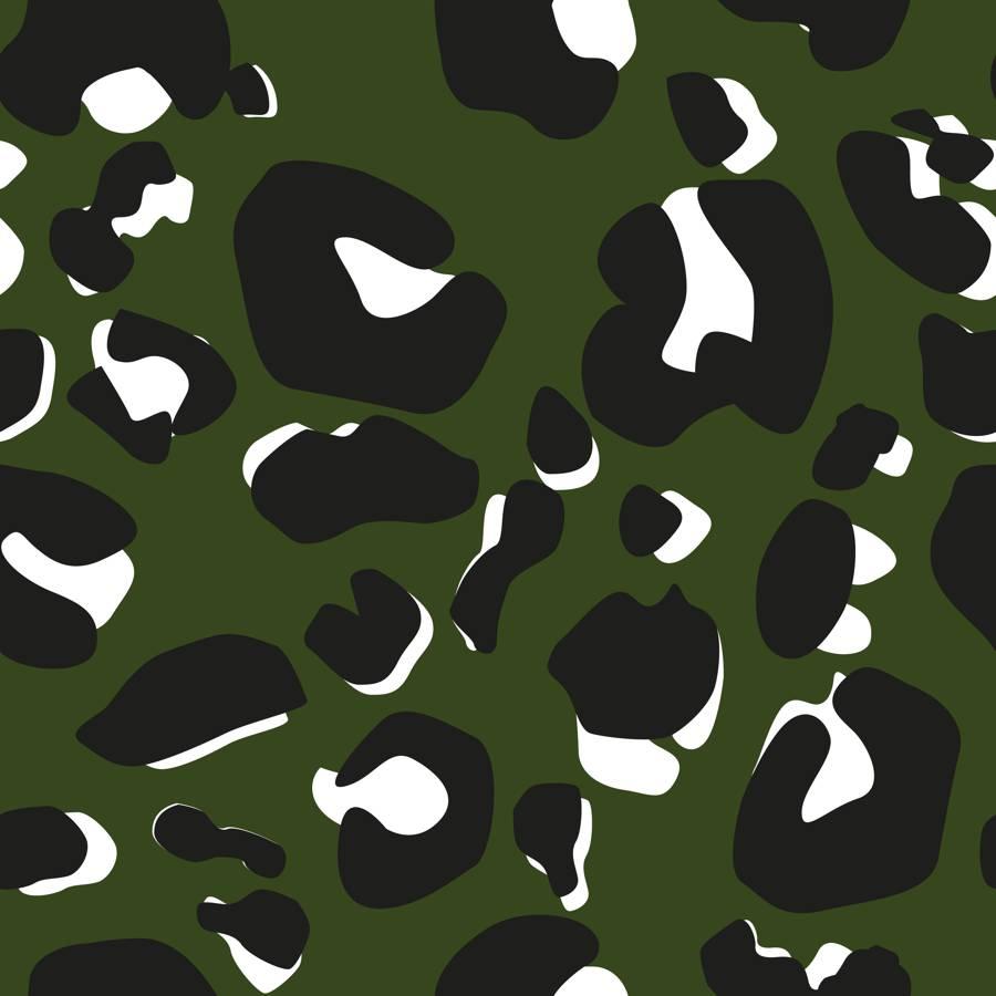 Poliester Reciclado PET de 260 gr/m2 - Print de leopardo sobre fondo verde