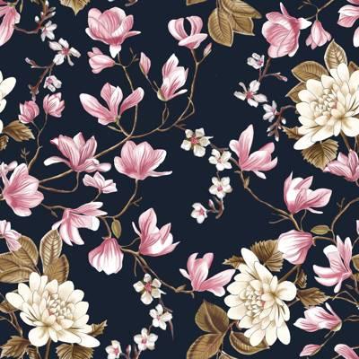 Loneta de Poliester Reciclado PET de 260 gr/m2 - Estampado de flores inspiracion romantica sobre fondo oscuro