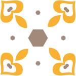 Loneta de Poliester Reciclado PET de 260 gr/m2 - Dulce geometría en tonos ocre y amarillo