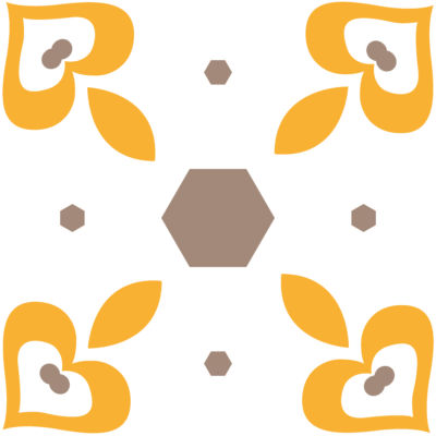 Poliester Reciclado PET de 260 gr/m2 - Dulce geometría en tonos ocre y amarillo