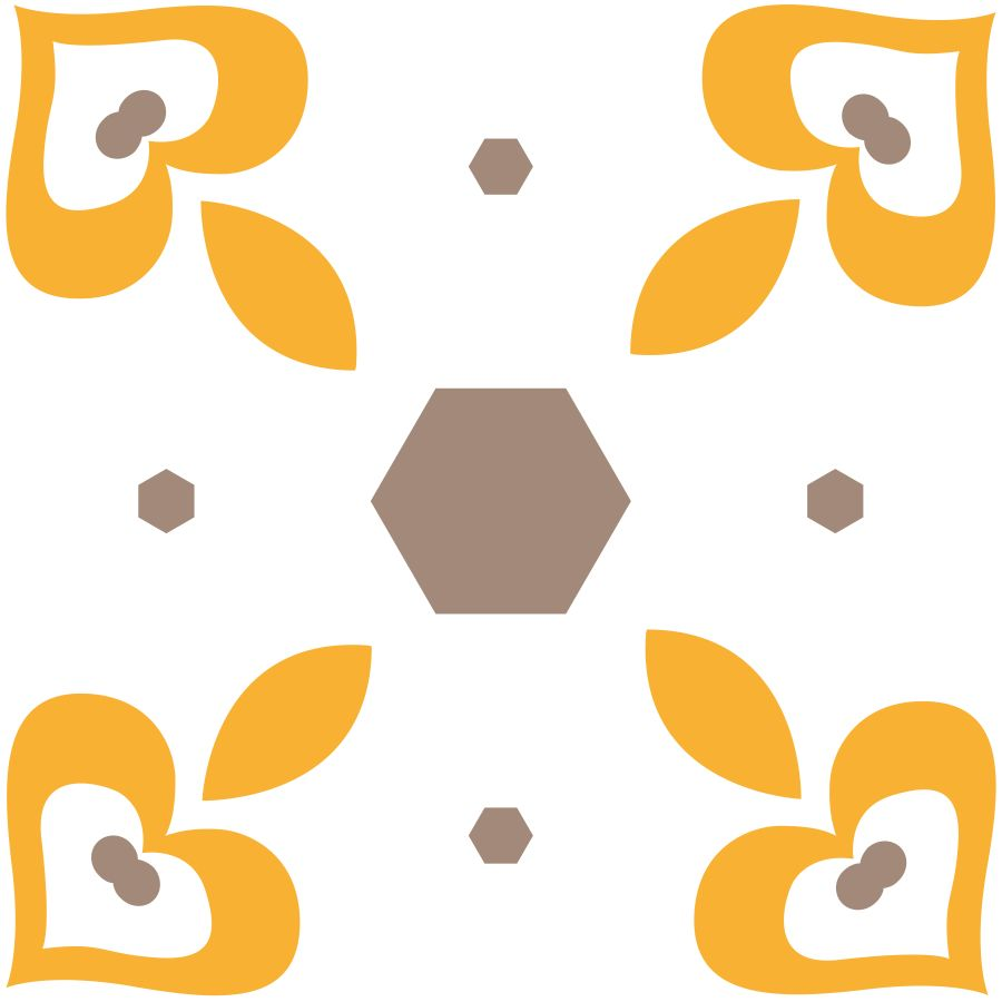 SEAL - Lycra de Poliester Reciclado de 230 gr/m2 - Dulce geometría en tonos ocre y amarillo