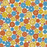 Lycra de Poliester Reciclado de 190 gr/m2 - RECYCLED - Círculos de colores en tonos alegres sobre fondo blanco