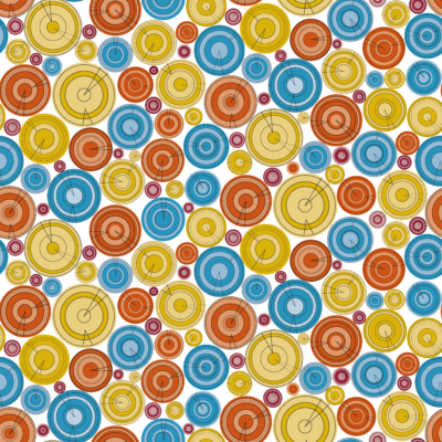 Loneta de Poliester Reciclado PET de 260 gr/m2 - Círculos de colores en tonos alegres sobre fondo blanco