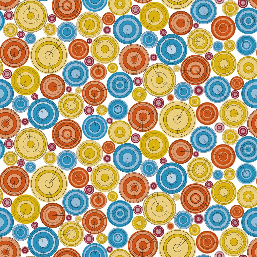 Lycra de Poliester Reciclado de 230 gr/m2 - SEAL - Círculos de colores en tonos alegres sobre fondo blanco