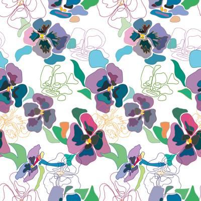 Tela de Microfibra de 110 gr/m2 - Conjunto de flores multicolor