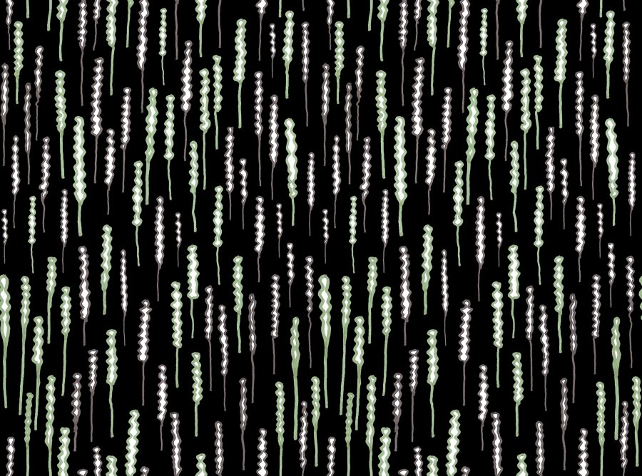 Lycra de Poliester Reciclado de 230 gr/m2 - SEAL - Estampado rizos de colores sobre fondo oscuro