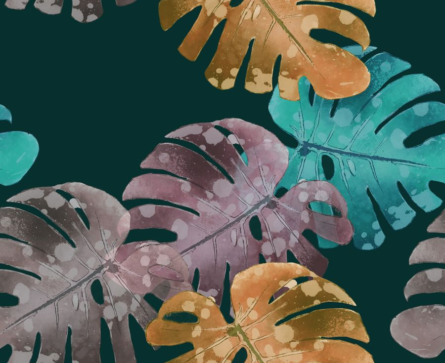 Lycra de Poliester Reciclado de 190 gr/m2 - RECYCLED - Estampado Hojas tropicales sobre fondo oscuro