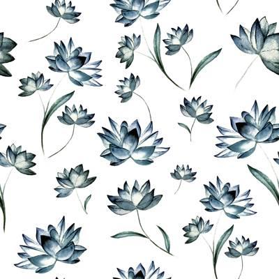 Tela de Microfibra de 110 gr/m2 - Flores azules - diseño 2