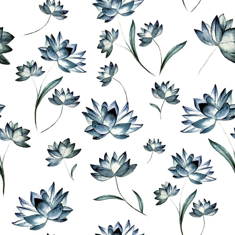 Lycra de Poliester Reciclado de 230 gr/m2 - SEAL - Flores azules - diseño 2