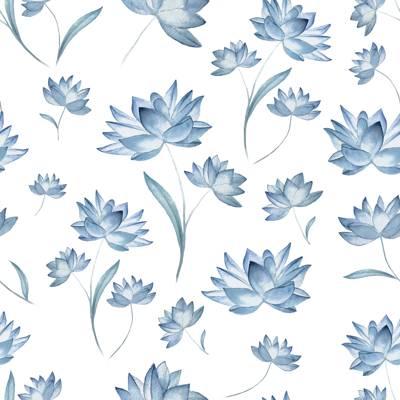 Tela de Microfibra de 110 gr/m2 - Flores azules