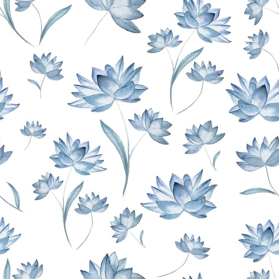 Loneta de Poliester Reciclado PET de 260 gr/m2 - Flores azules