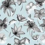 Loneta de Poliester Reciclado PET de 260 gr/m2 - flores blanco y negro