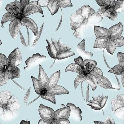 Tela de Microfibra de 110 gr/m2 - flores blanco y negro