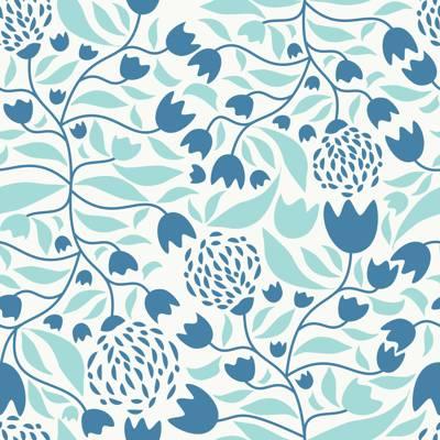 Tela de Microfibra de 110 gr/m2 - FLOWER FOREST BLUE