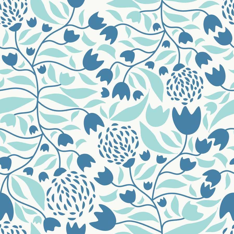 Loneta de Poliester Reciclado PET de 260 gr/m2 - FLOWER FOREST BLUE