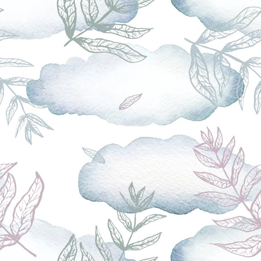 Loneta de Poliester Reciclado PET de 260 gr/m2 - hojas y nubes