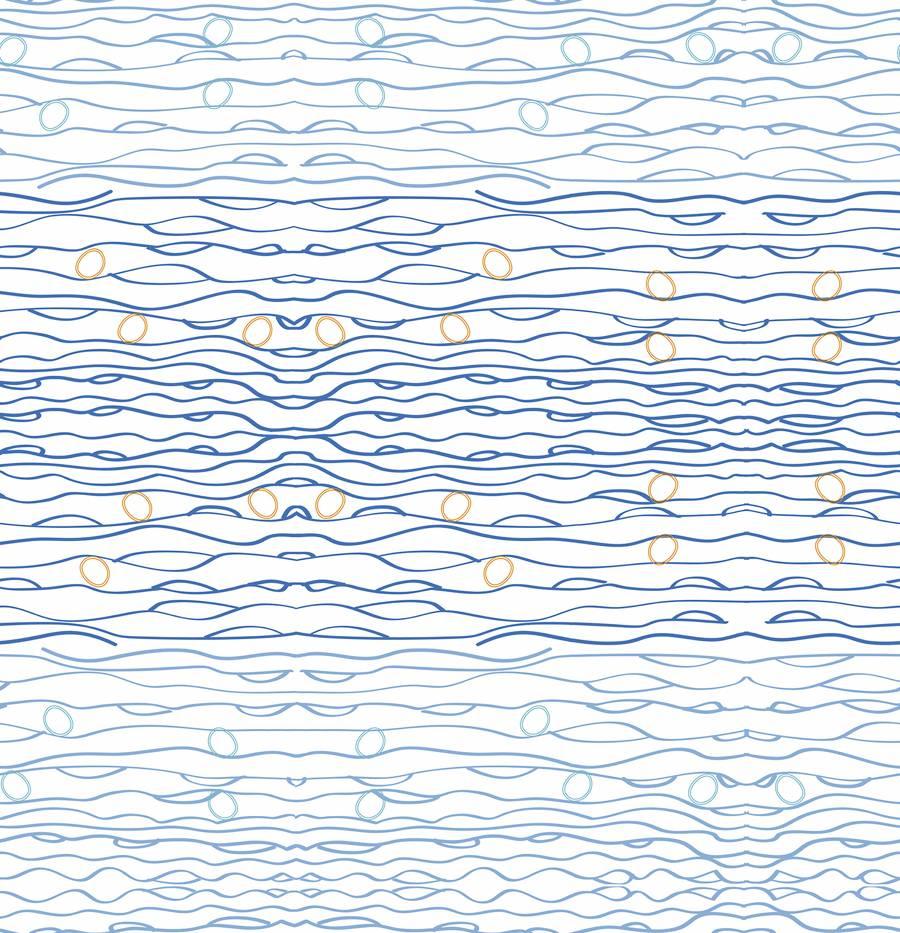 Lycra de Poliester Reciclado de 230 gr/m2 - SEAL - Estampado oceano azul abstracto