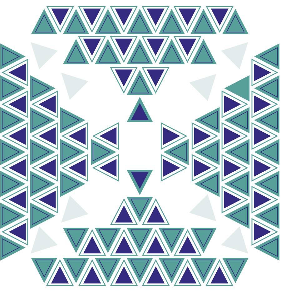 Loneta de Poliester Reciclado PET de 260 gr/m2 - Estampado etnico con geometria de triangulos