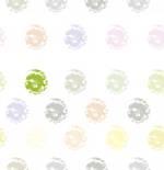 Loneta de Poliester Reciclado PET de 260 gr/m2 - Diseño de estampillas multicolor sobre fondo blanco