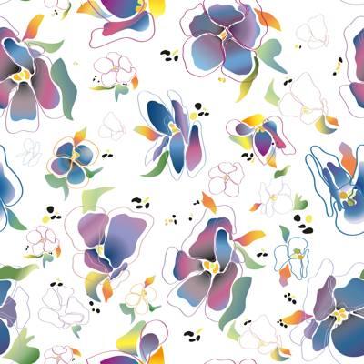 Tela de Microfibra de 110 gr/m2 - Diseño de flores en tonos violetas sobre fondo blanco