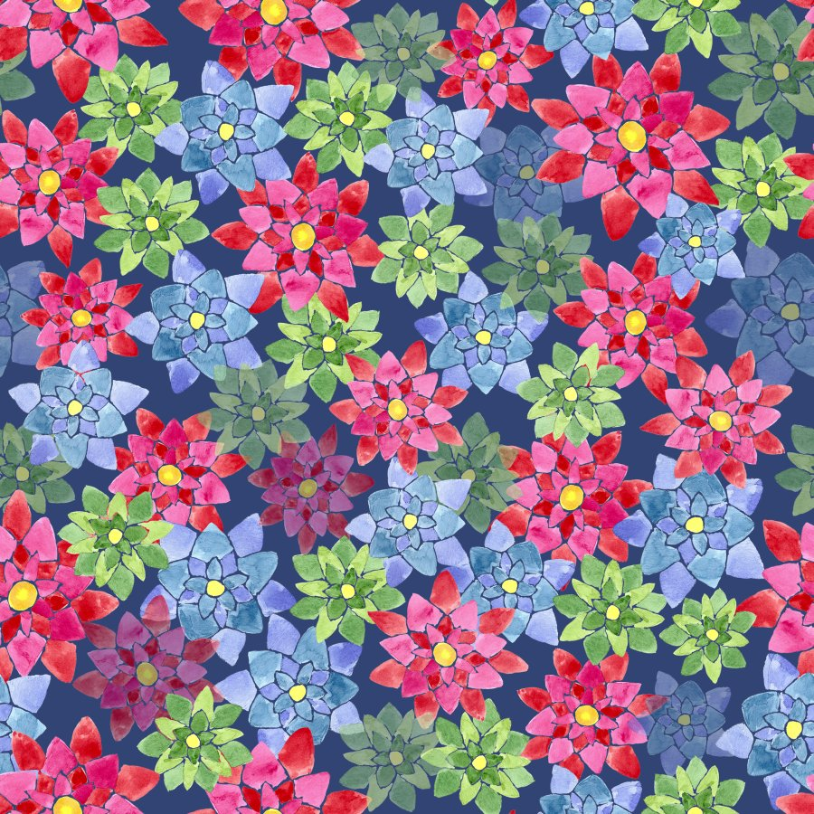 Lycra de Poliester Reciclado de 230 gr/m2 - SEAL - Diseño de flores estrelladas multicolor