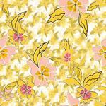 Lycra de Poliester Reciclado de 230 gr/m2 - SEAL - Estampado floral vintage en tonos amarillos