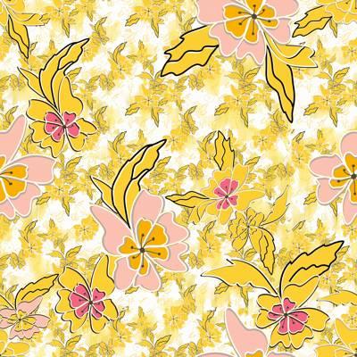 Tela de Microfibra de 110 gr/m2 - Estampado floral vintage en tonos amarillos