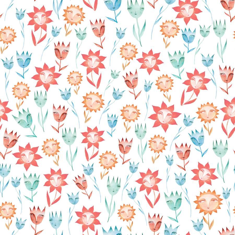 Loneta de Poliester Reciclado PET de 260 gr/m2 - Flores acuarela