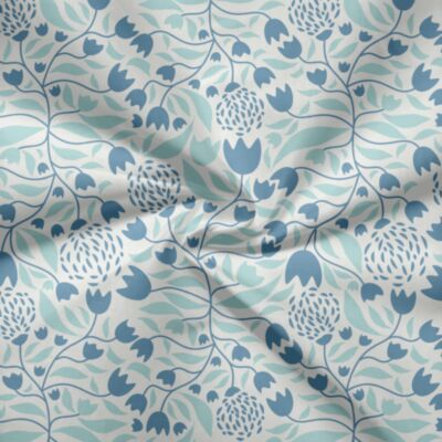 Voile - Cupid & Voile - FLOWER FOREST BLUE
